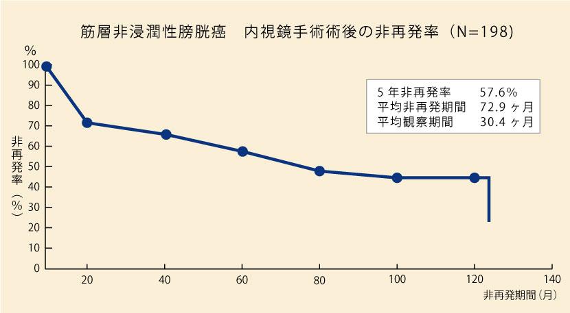 筋層非浸潤性膀胱癌 内視鏡手術術後の非再発率(N=107)