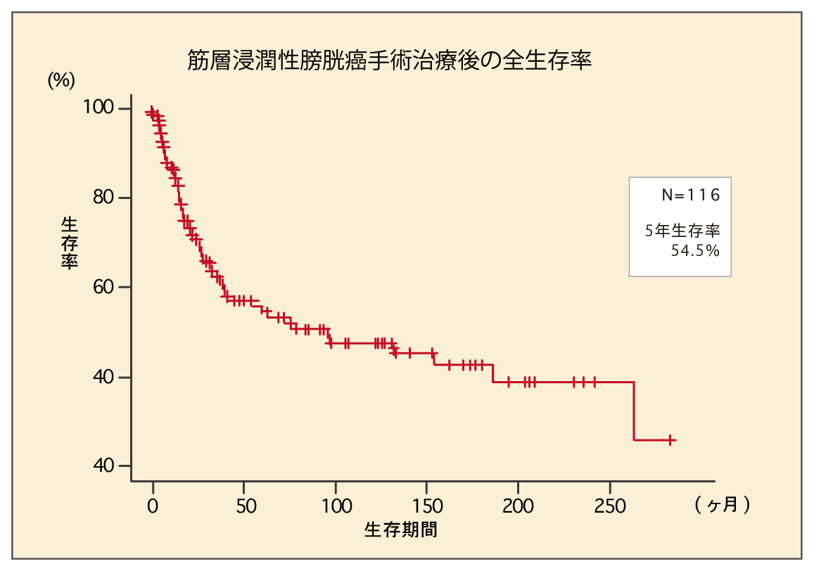 筋層浸潤性膀胱癌手術治療後の全生存率